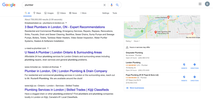 "Google Search listings for ""Plumber""."